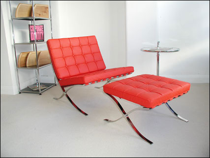 Red pavillion chair designed for the 1929 Barcelona Exposition