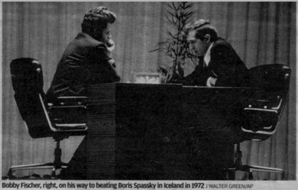 Bobby Fischer, right, on his way to beating Boris Spassky in Iceland in 1972, both sitting in their Eames lobby chairs