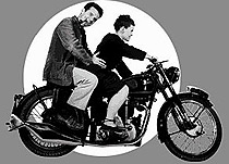 Charles and Ray Eames on a Triumph motorbike