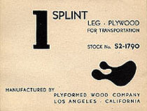 Label designed by Ray for World War 2 moulded plywood leg splint