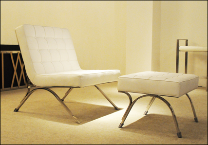 Seville chair and ottoman in white leather