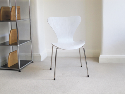 Replica of the butterfly chair designed by Arne Jacobsen