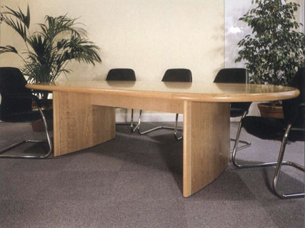 Profiles meeting table, showing aerofoil leg and stretcher-bar under table support